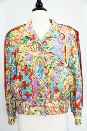 Vintage Bomber Jacket Women Coat sz 8 Colorful 80s