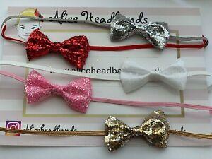 Small-Glitter-Bow-4cm-Baby-Headbands-Skinny-Elastic-Christmas-Newborn-Tiny-Lot