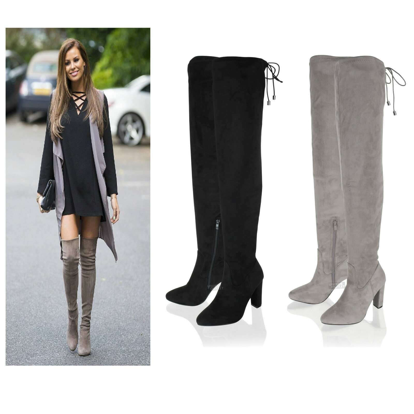 Womens Ladies Over The Knee Thigh High Block Heel Suede Stretch Winter Boots