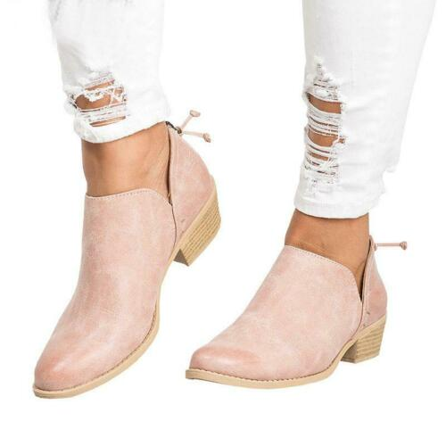 Women Leather Ankle Boots Low Block Heel Bootie Chunky Casual Slip On Shoes Flat
