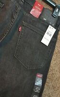 Mens Levi's 505 Regular Fit Stretch Black Denim Jeans Size 32x32 Black