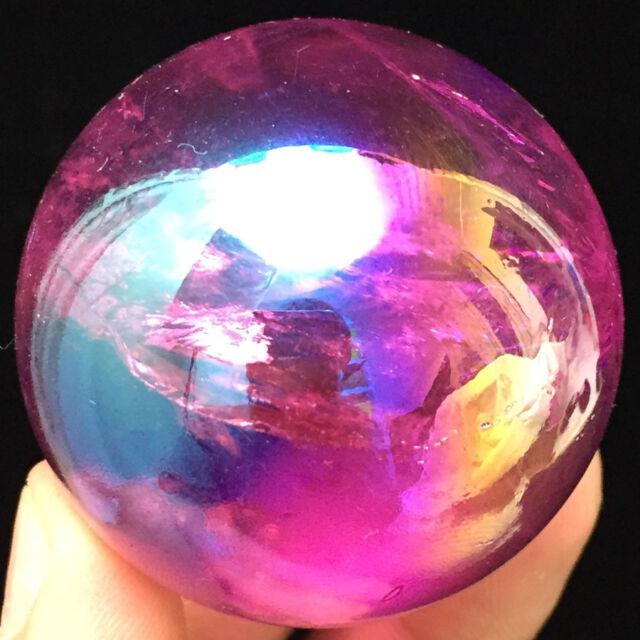 151g Purple Flame Aura Quartz Titanium Plated Crystal Sphere Balls  ic3140