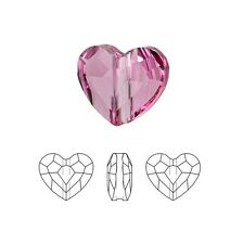 Swarovski Crystal Faceted Love Beads Heart 5741 Rose 8mm Package of 2