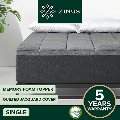 Details about  Zinus SINGLE Size Charcoal Pillowtop Memory Foam Mattress Topper Protector Cover