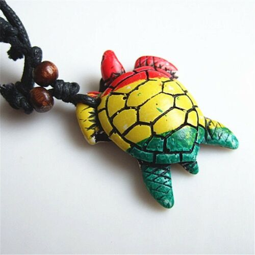 """Resin 1-1//2/"""" RASTA TURTLE with 18+/"""" Adjustable Rope Pendant Necklace"""