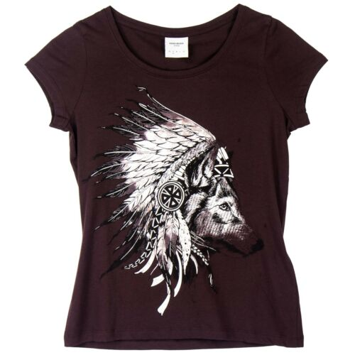 VERO MODA Damen T-Shirt Damenshirt India Motiv Shirt Rundhals Kurzarm