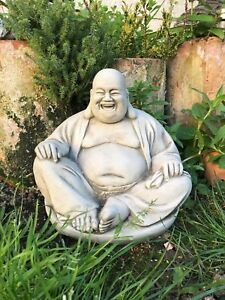 Image Is Loading Fat Buddha Laughing Travelling Stone Garden Ornament Meditating