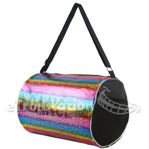 Image Is Loading Gymnastics Ballet Colorful Rainbow Shimmer Dance Duffle Bag