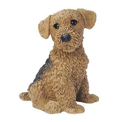 Puppy Dog Airedale Terrier Man/'s Best Friend Sculpture for Home or Garden