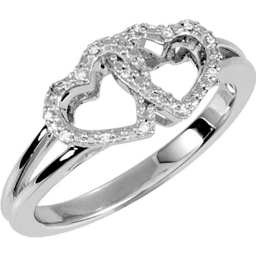 Genuine Diamond Open Double Heart Promise Ring