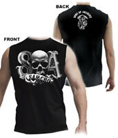 Sons Of Anarchy Beveled Skull Logo 2 Sided Print Muscle Black T-shirt