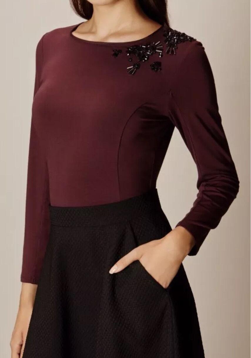 Karen Millen Ladies Embellished Stretch Top T Shirt Blouse - burgundy UK10 BNWT