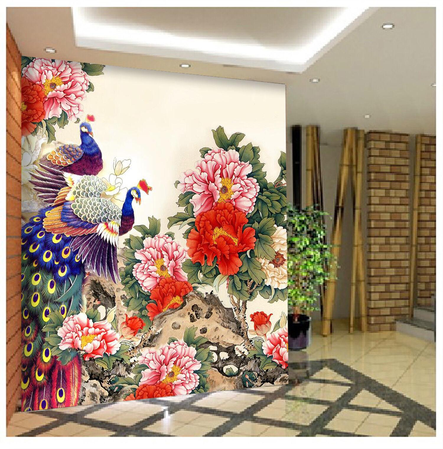 3D Pfauenbluemen 588 Tapete Tapeten Mauer Foto Familie Tapete Wandgemälde