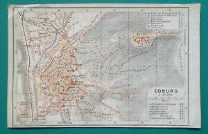 1913 Coburg Germany Antique Map