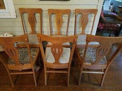 Marvelous Set Of 6 Antique Dining Chairs Quartersawn Tiger Oak Ebay Short Links Chair Design For Home Short Linksinfo