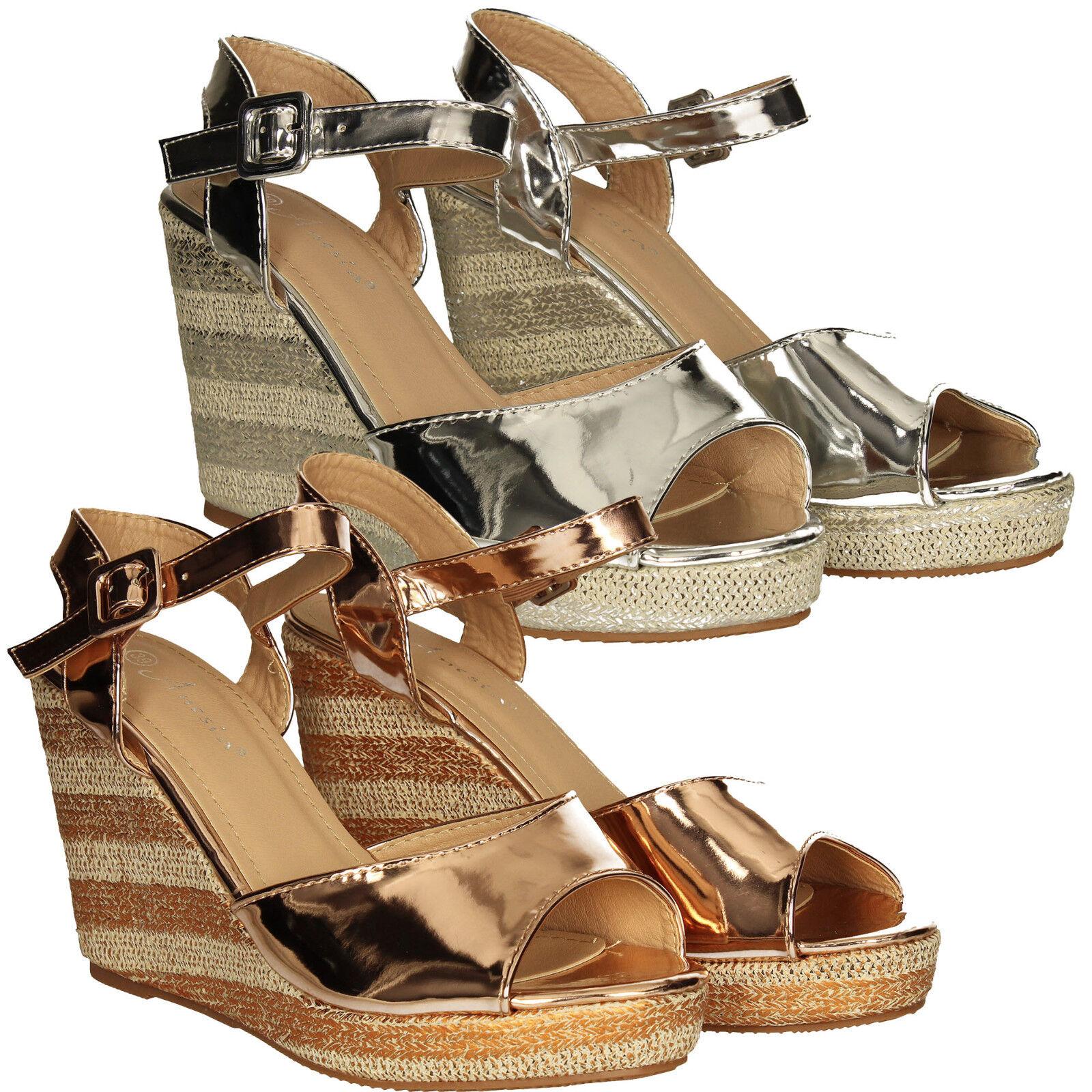 Womens Raffia Wedge Ankle Heel Ladies Peep Toe Summer Sandal Ladies Heel Rose Gold Silver 8877a0