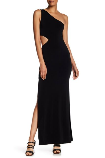 52be2186be41 NEW ALICE + OLIVIA Air Black Cutout One Shoulder Malia Slit Stretch Maxi  Gown 6