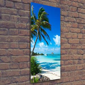 Wandbild-Druck-auf-Plexiglas-Acryl-Hochformat-50x125-Tropischer-Strand