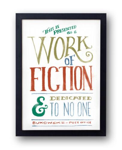 Post Office Dedication Charles Bukowski Print hand drawn typographical art