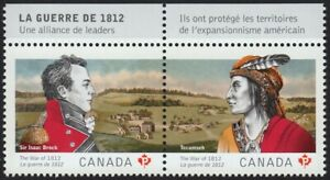 Canada-Guernsey-JOINT-WAR-1812-Pair-FRENCH-INSCRIPTION-2012-2555a-MNH-VF