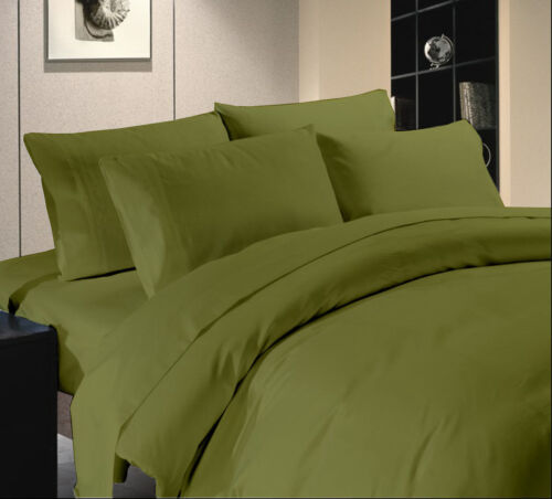 Moss Solid Premium Bedding Collection 1000 TC Egypt Cotton All Sizes Olive