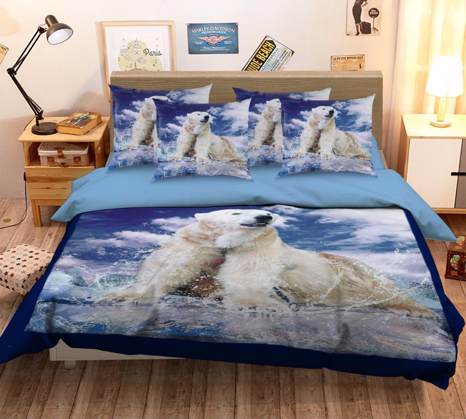 3D Polar Bear Glacier 579 Bed Pillowcases Quilt Duvet Cover Set Single Queen CA