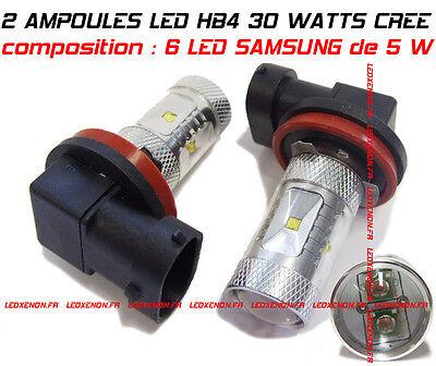 KIT 2 AMPOULE LED HB4 9006 30 WATT XENON 6000K : 6 LED SAMSUNG - ANTI BROUILLARD