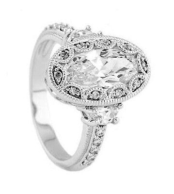 Silver Antique Milgrain Oval Setting Cz Engagement Ring Ebay