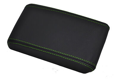 FITS FORD MUSTANG 05-09 LEATHER ARMREST COVER green stitch