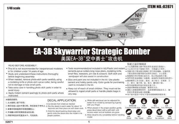 Ea-3b Skywarrior Strategic Bomber 1 48 Plastic Plastic Plastic Model Kit TRUMPETER 5367c4