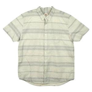 Levi-s-Mens-XXL-Grey-White-Striped-Short-Sleeve-Button-Down-Shirt-Front-Pocket