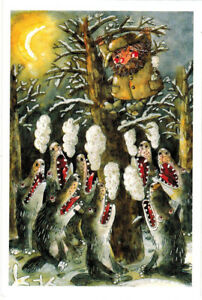 WOLVES-SURROUNDED-MAN-ON-A-TREE-modern-Russian-card-by-D-Trubin