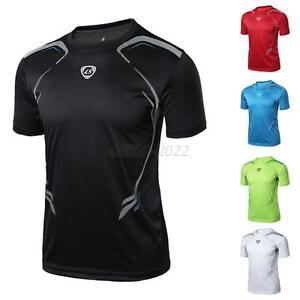 Mens-Boy-Sport-T-shirt-Fitness-Quick-Dry-Casual-Stretch-Top-Tee-Shirt-M-L-XL-2XL