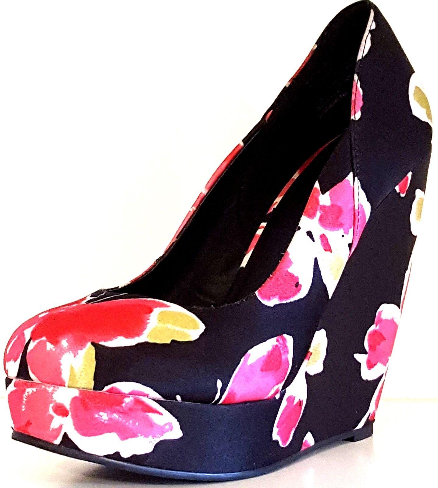 ELLE - ELJESSICA PRINT RN 73277 Women's Butterfly Textile Platform Wedges 8 MED