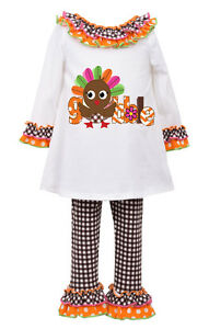 Bonnie baby girls holiday thanksgiving turkey outfit ivory orange 12