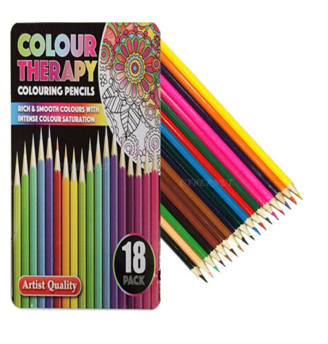 18 x Colour Therapy Professional Artist Quality Colouring Pencils Tin