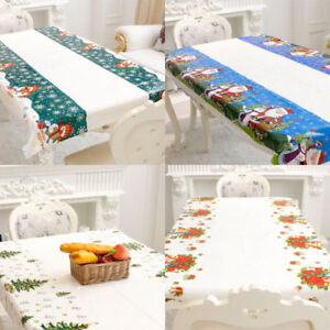 Christmas Santa Snowman Vinyl Tablecloth Dining Kitchen Table Cover