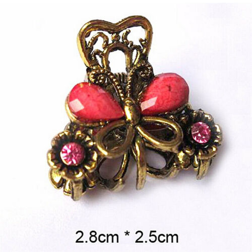 Retro Women Girls Mini Butterfly Hair Clip Resin Hairpins Claw Jewelry $TCABSCA