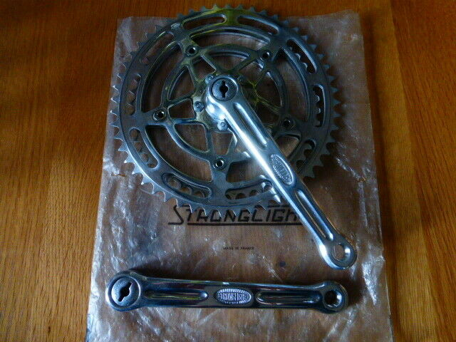 RARE STRONGLIGHT 49 D CRANKS 165 MM FITTED WITH 52 45 RINGS MADE IN FRANCE NOS