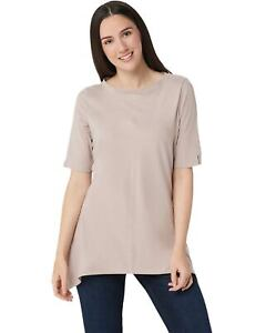Denim-amp-Co-Womens-Bateau-Neck-Elbow-Sleeve-Trapeze-Tunic-Small-Taupe-A351569