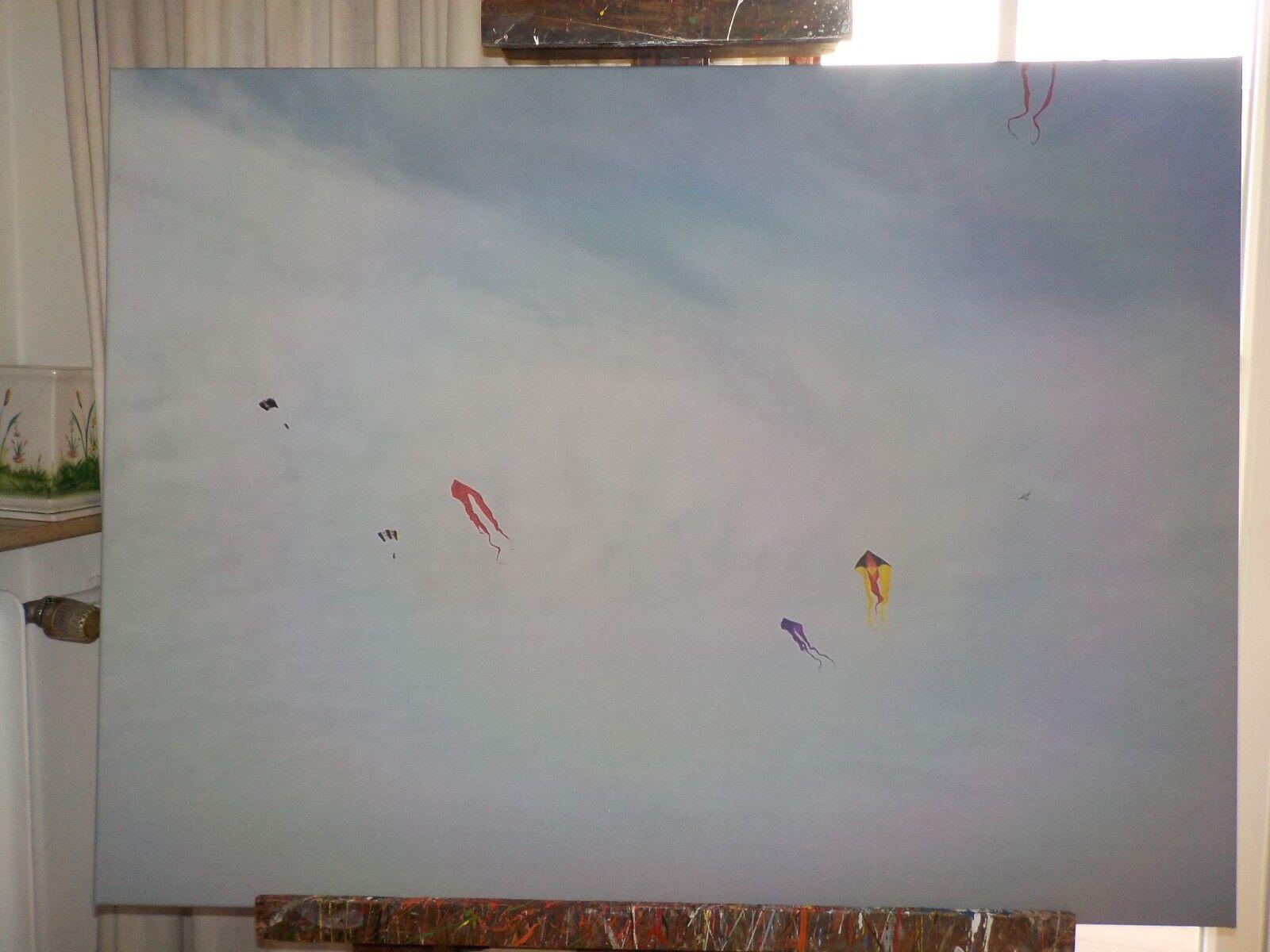 Foto auf Leinwand mit Holzleiste  Drachenfliegen  100x75 cm, signiert