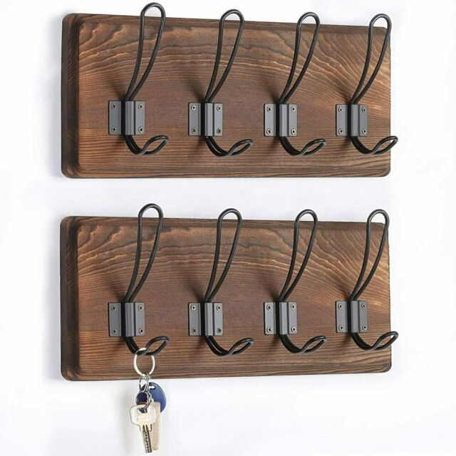 """Set of 2 Wall Mounted Coat Rack with 4 Hooks for Entryway 15/"""" Coat Hanger Rail"""