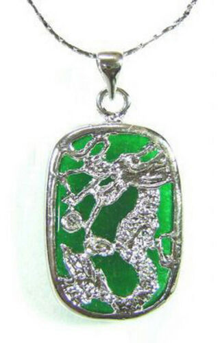 Fashion Émeraude Vert Jade 18 kwgp Dragon Tablette Hommes Femmes Pendentif Chaîne Collier