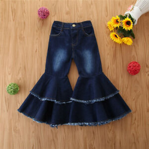 Children-Toddler-Kids-Baby-Girls-Casual-Ruffle-Denim-Clothes-Fashion-Jeans-Pants