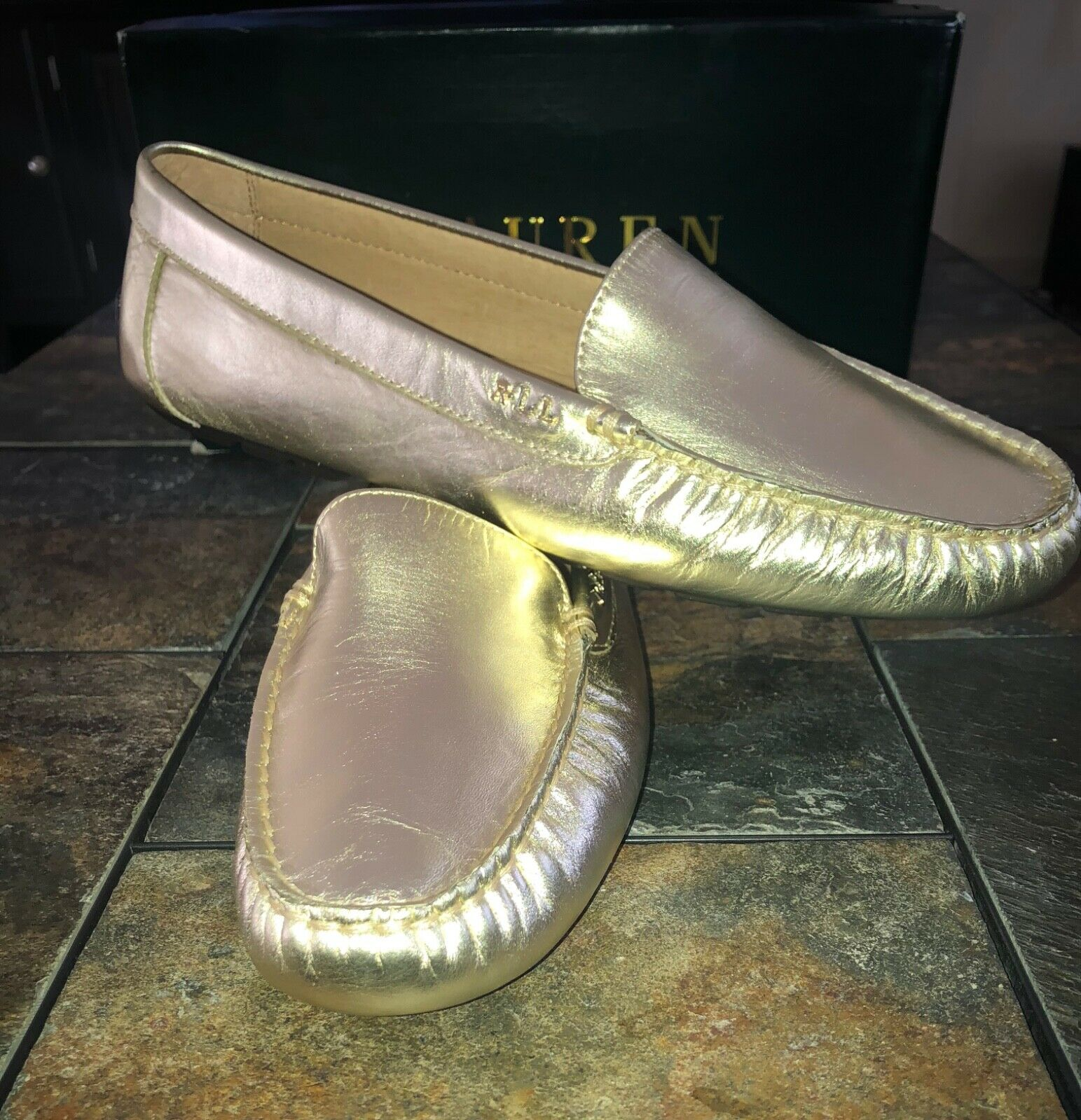 Ralph Lauren gold Metallic Women's Loafer Size 10M NIB
