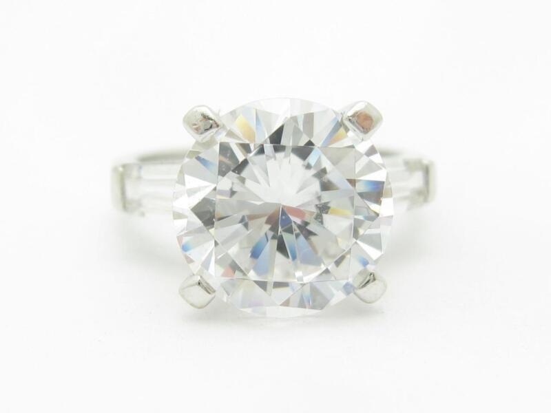 14k White Gold & Cubic Zirconia Cz Engagement Design Travel Ring Bridal Gift