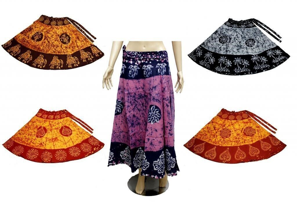 10 Cotton Floral Batik Printed UK Boho Long Wrap Around Skirts Wholesale Lot