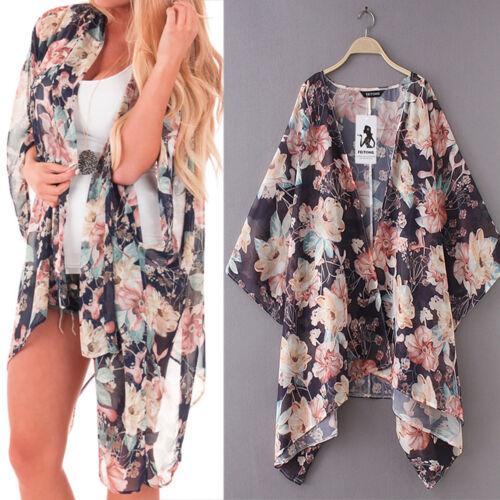 Cárdigan Kimono para Mujer de Gasa Chal Print Top Blusa nos Ropa de playa encubrir