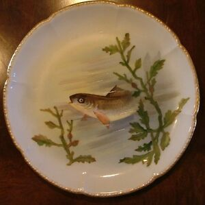 Wm-GUERIN-amp-Co-LIMOGES-FRANCE-9-034-FISH-PLATE-3-DECORATED-BY-CHAS-REDMOSTON