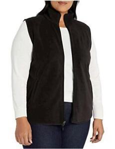 Essentials Women's Plus Size Full-Zip Polar Fleece Vest, Black, Size 5.0